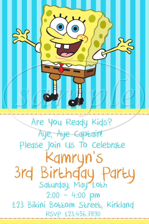 PRINTABLE DIGITAL DESIGN Spongebob Birthday by KiddieCreations1 ...