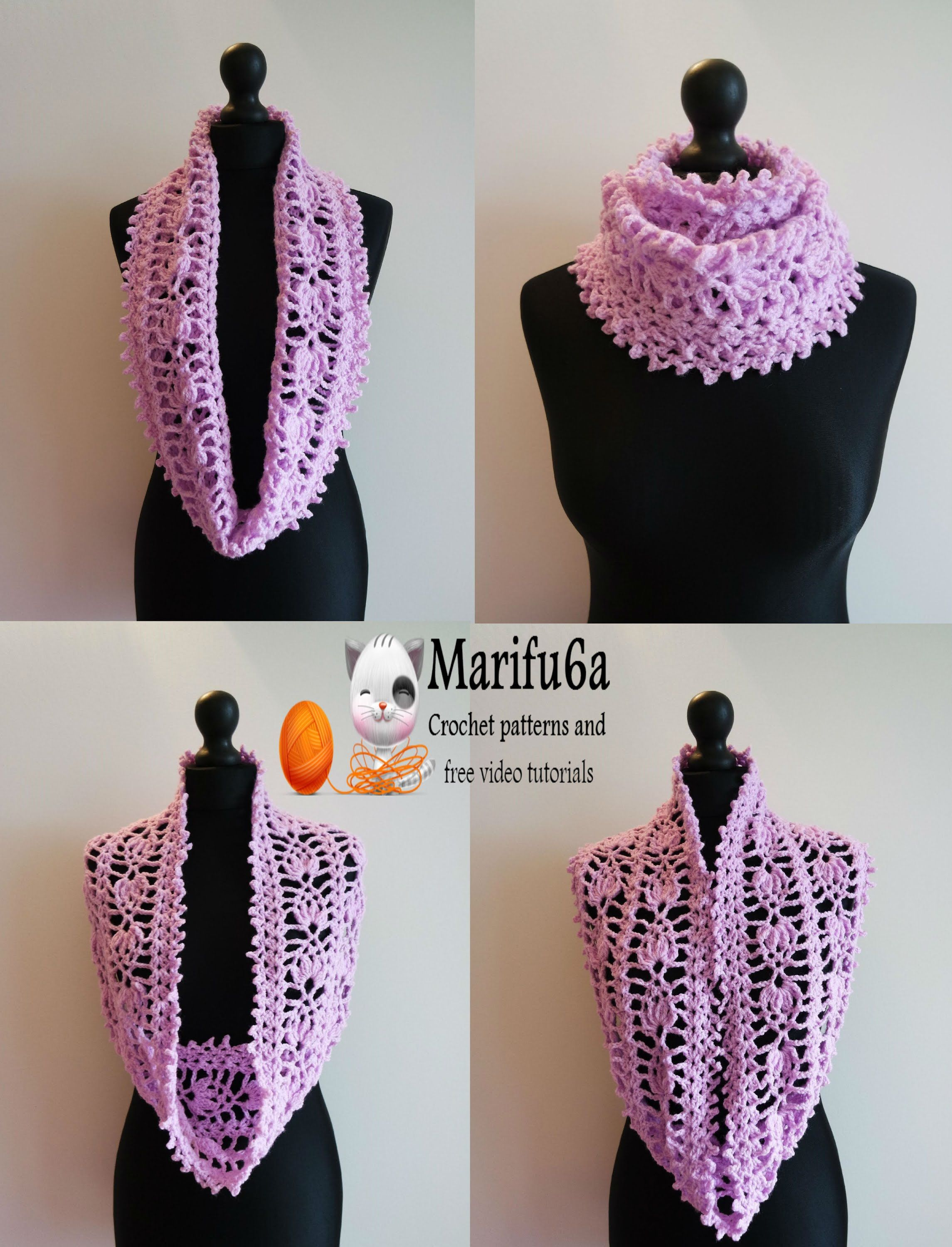 how to crochet pineapple cowl scarf pattern free tutorial | crochet ...