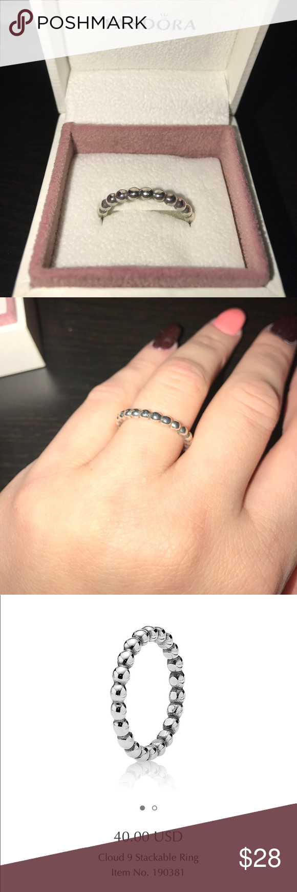 💍Like New Pandora Cloud 9 ring in size 8.5 💍💍💍Pandora Cloud 9 sterling silver ring purchased from Pandora store in late 2016. Cleaned regularly at the Pandora Store. Ring is a size 58, which is equivalent to an 8.5. **offers will be accepted through the offer function via Posh! ❌PP ❌trades Pandora Jewelry Rings
