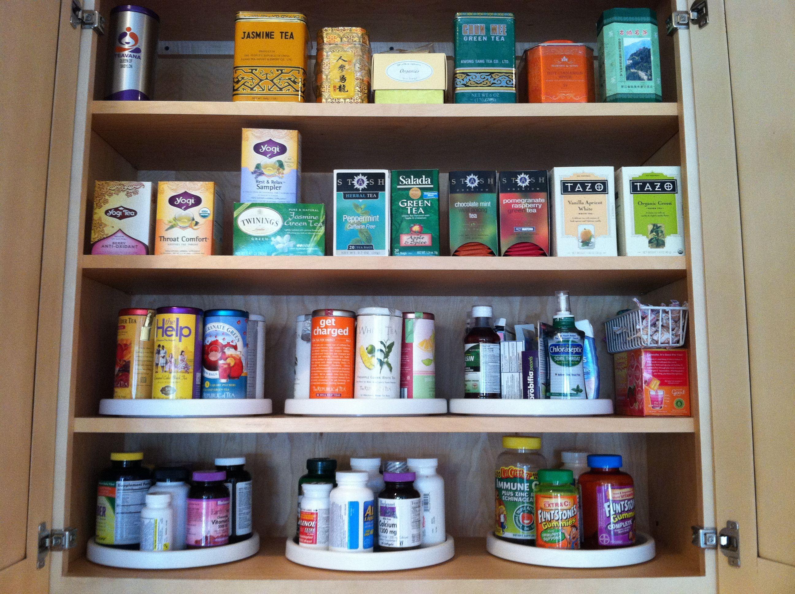 Tea Cabinet Tea Organization Storage Diy Kitchen Storage Tea Organization