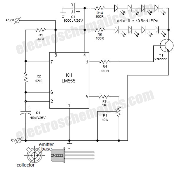 Flashing led lights circuit schematic electronics pinterest flashing led lights circuit schematic asfbconference2016 Image collections