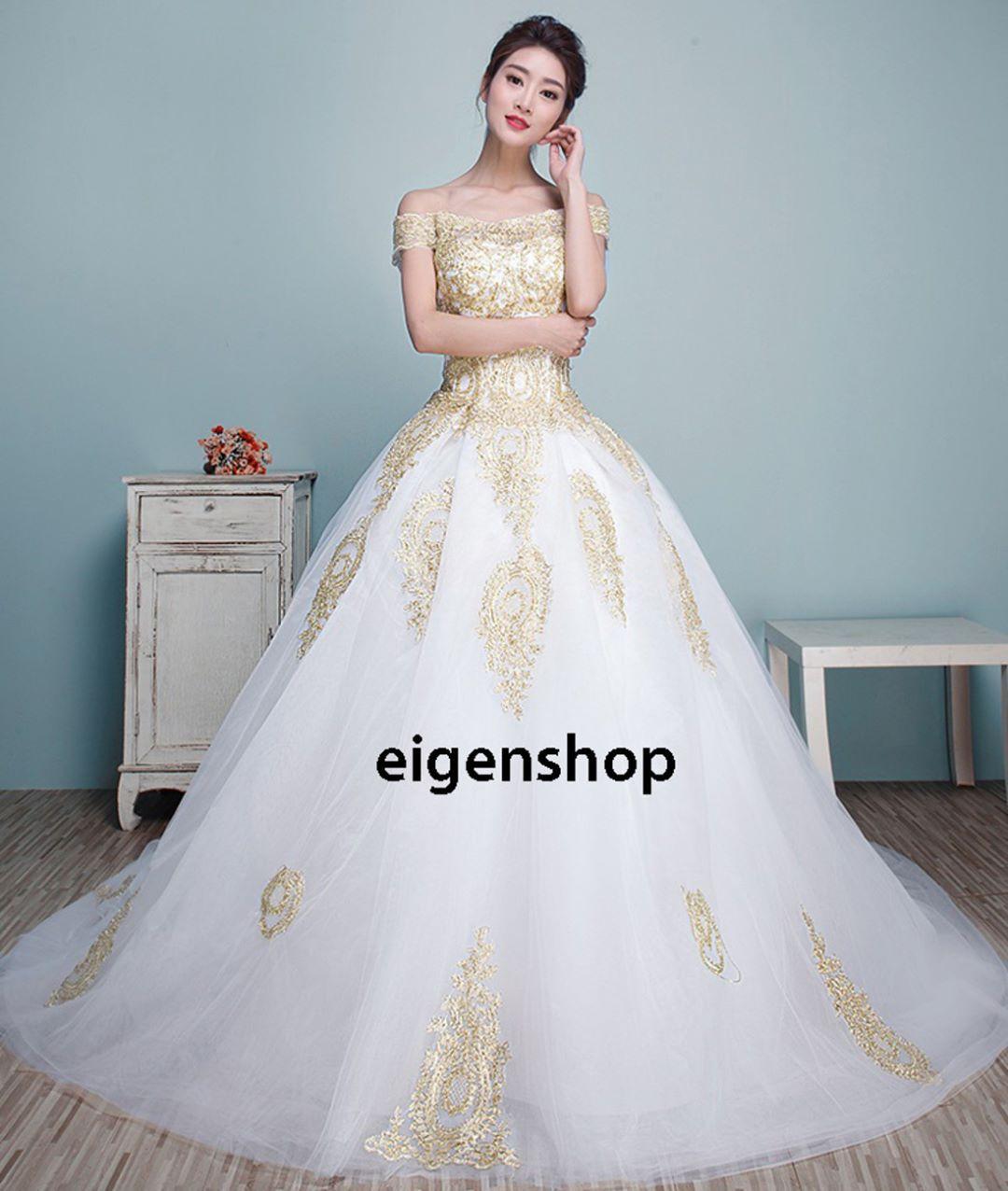 1702031 Sabrina Gold/Emas Ekor Gaun Pengantin Wedding Gown Dress Rp ...