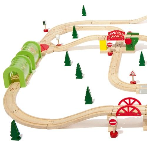 circuit de train en bois 100 pi ces oxybul pour enfant de. Black Bedroom Furniture Sets. Home Design Ideas