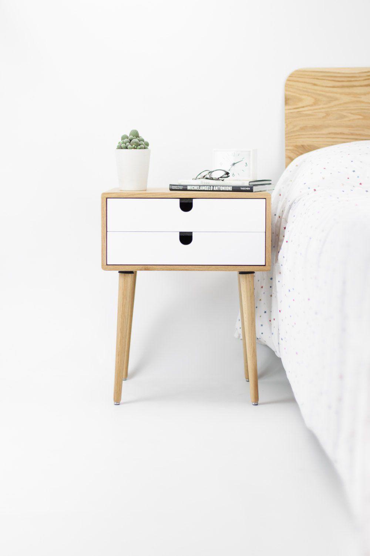 Oak Wood White Bedside Table Nightstand Mid Century Modern Retro Scandinavian 2 Drawers Retro Bedside Tables White Bedside Table Bedside Table Design