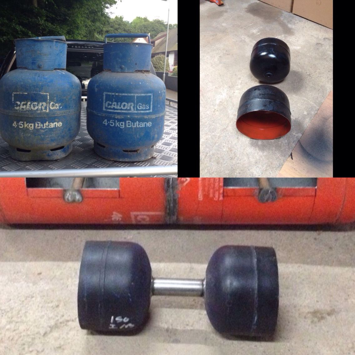 "Homemade loadable dumbell,  2"" handle Fine for strongman training"