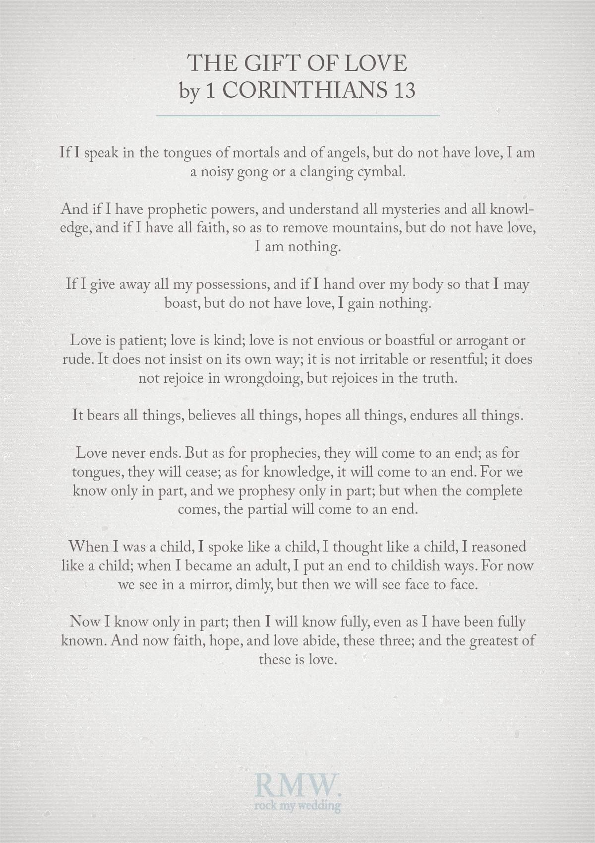 The Gift of Love by 1 Corinthians 13 Wedding Readings