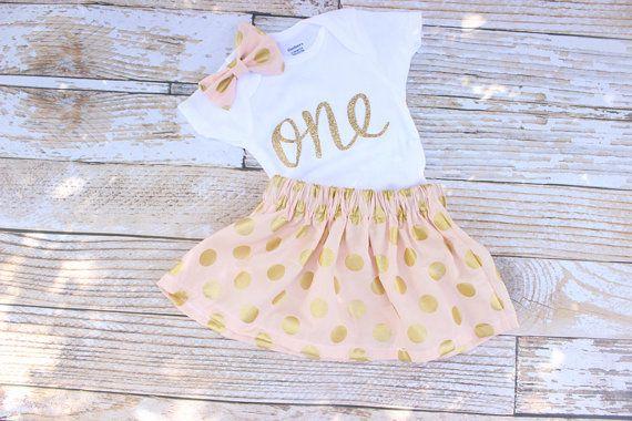Pink First Birthday Outfit Girls Birthday Baby twirl skirt