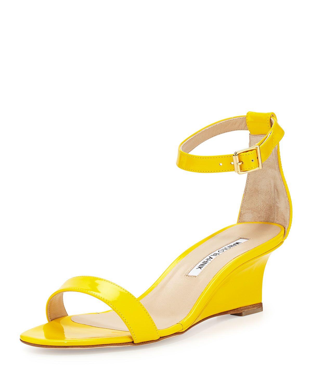 e1be48fb5a4fb Manolo Blahnik Valere Patent Demi-Wedge Sandal, Yellow, Size: 38.5B/8.5B