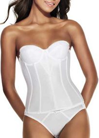 Super shaping longline torsolette provides excellent full figure control  Elegant Satin Tricot design with delicate lace trim  Low back design perfect for wear with strapless gowns  Close-set boning smoothes & gathers the midsection, sides and back  Three section, fiber filled cups offer full figure control & concealment  Soft-banded, cotton lined underwires support comfortably  Super-stretch, Spandex power-net back panel for shaping & support  Creates a flawless transition beneath gowns…