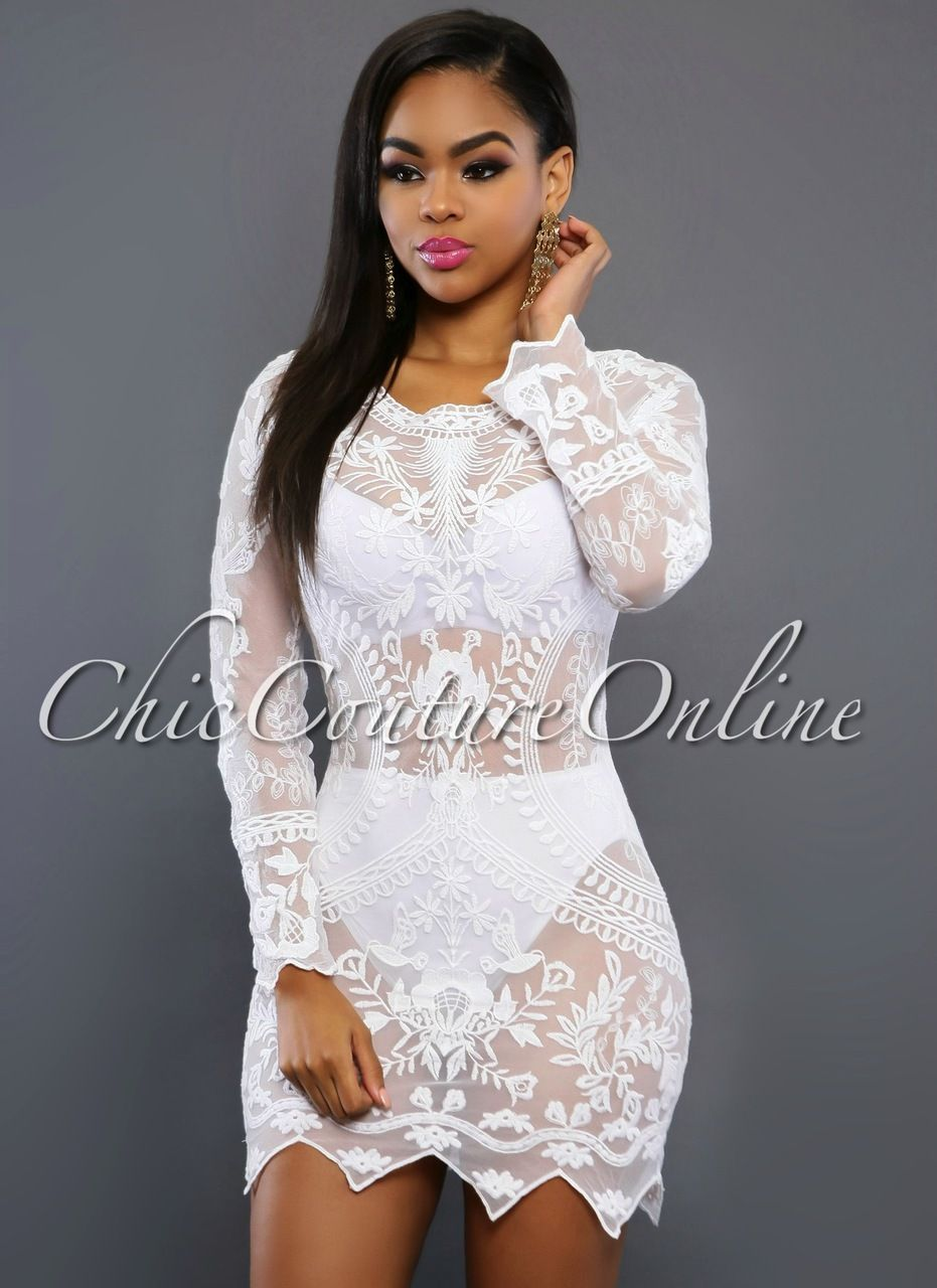 Chic Couture Online - Falone White Sheer Lace Cover-up Dress ...
