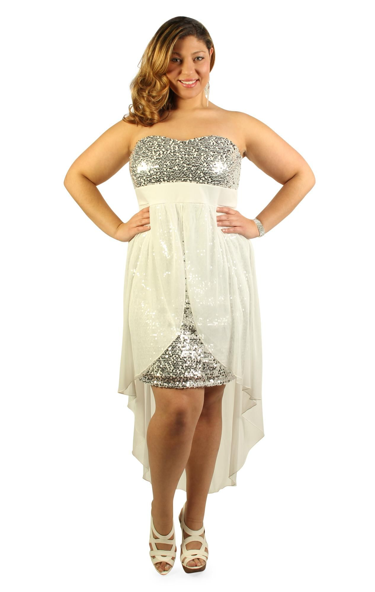 f5a4e5373f9 plus size strapless sequin homecoming dress with high low hem moh ...