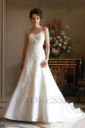A-Line Empire Sweetheart Satin Luxury Wedding Dresses