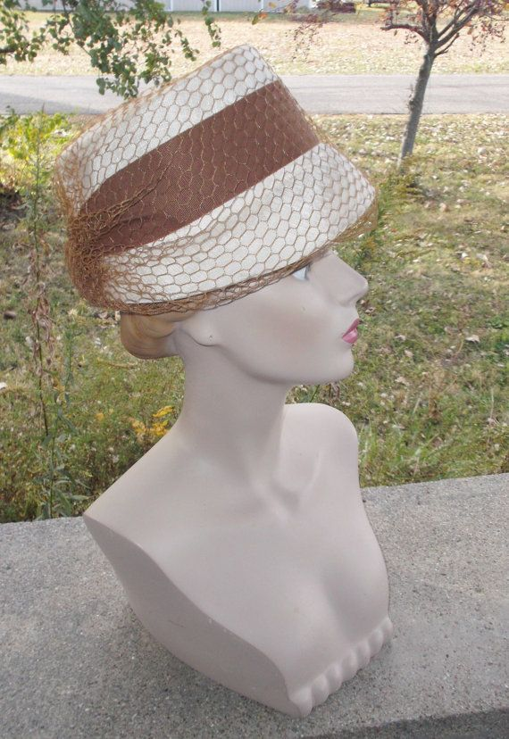 50s 60s Vintage Off White and Brown Hat with Netting