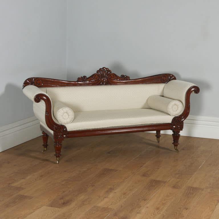 Antique English William IV Mahogany Upholstered Double