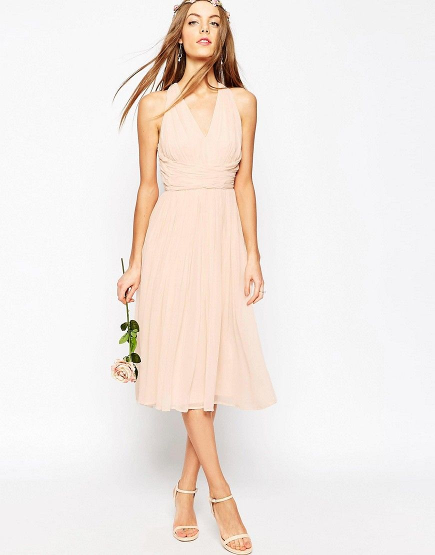 midi wedding dress ASOS WEDDING Hollywood Midi dress Like this but the color is almost more peach than