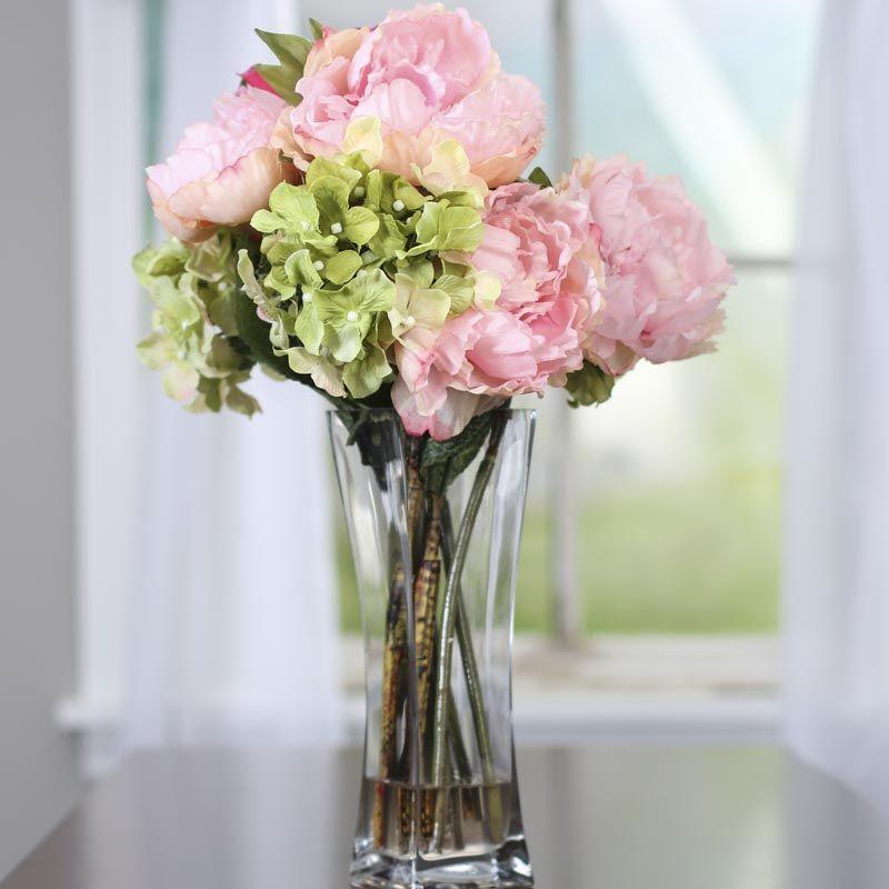 Artificial Hydrangea And Peony Vase