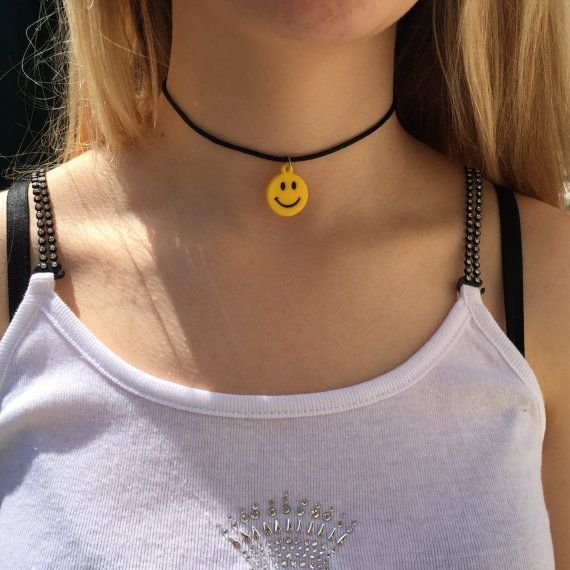 Smiley face 90s choker necklace black cord necklace 90s choker smiley face 90s choker necklace black cord necklace by celticbijou aloadofball Image collections