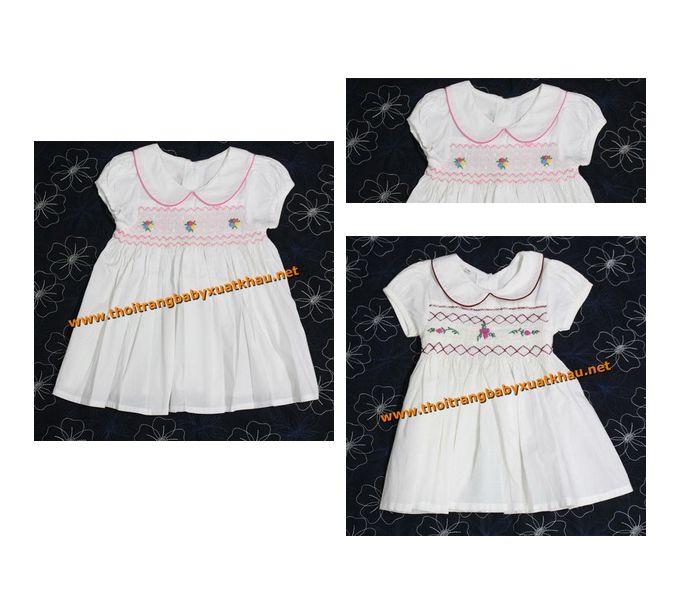 Đầm xích móc cho bé gái cực dễ thương với những đường xích móc trước ngực, form dáng xòe giúp bé thêm đáng yêu   http://thoitrangbabyxk.com