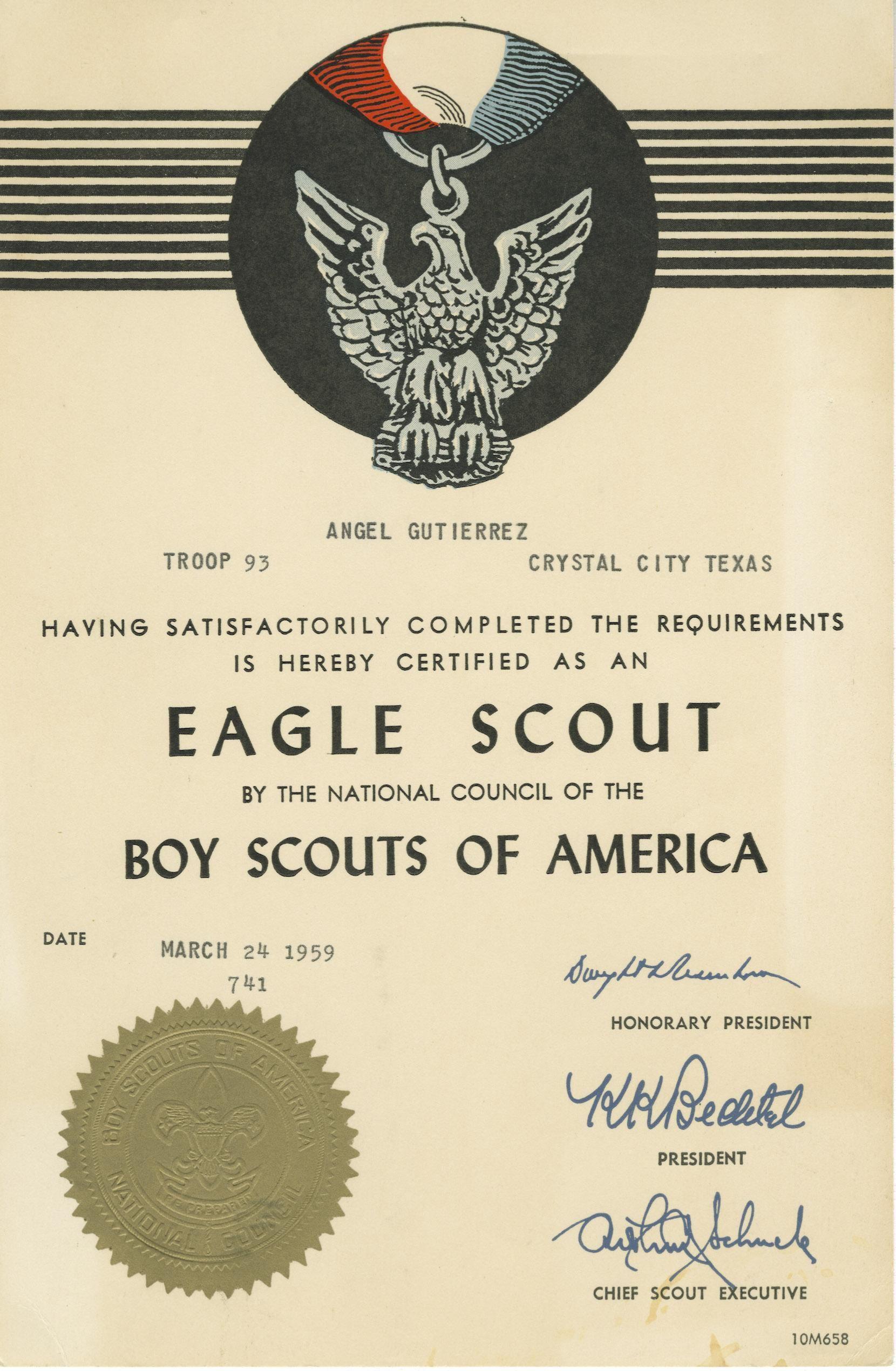 Eagle Scout Certificate Jose Angel Gutierrez Rosita Fernandez Lp