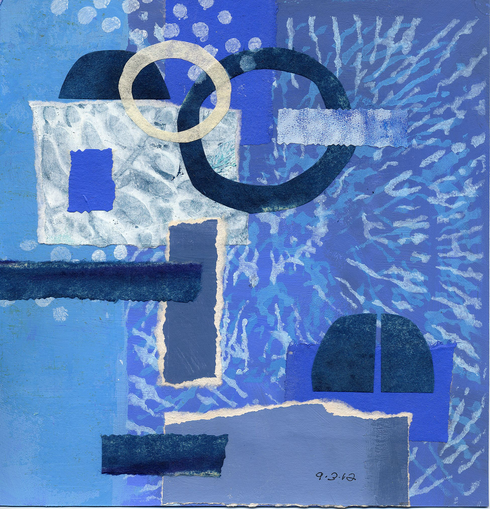 Joan Gillman Smith: Blue on Blue. acrylic and collage of painted papers. 8x8 inches