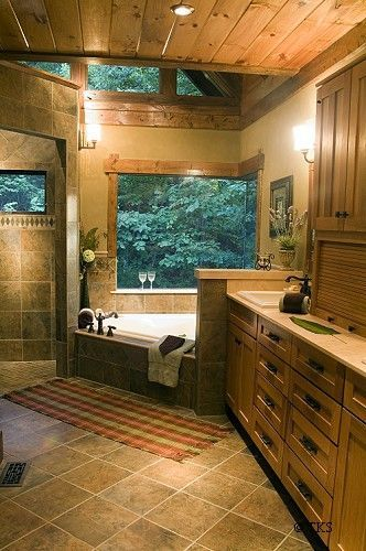 master bath layout. I really like the cabiny/rustic look