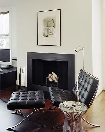Barcelona chair and ottoman platner side table in michael kors penthouse nyc by glenn gissler design