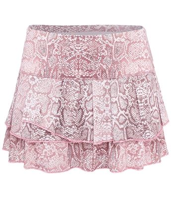 Seriously gorgeous! Lucky in Love blush pink snake print tennis skirt at mytennisstore.com. Let us keep YOU show court ready!
