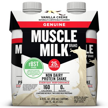 Muscle Milk Genuine Protein Shake 25g Protein Vanilla Creme 11 Fl Oz 4 Count Walmart Com Muscle Milk Protein Shakes Nutrition Shakes