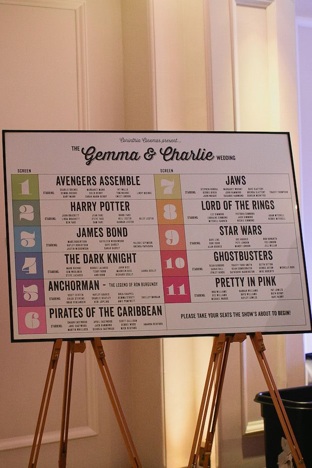 seating chart wedding g chart for pirates voyage: Cool movie themed wedding in london bridal musings table plans