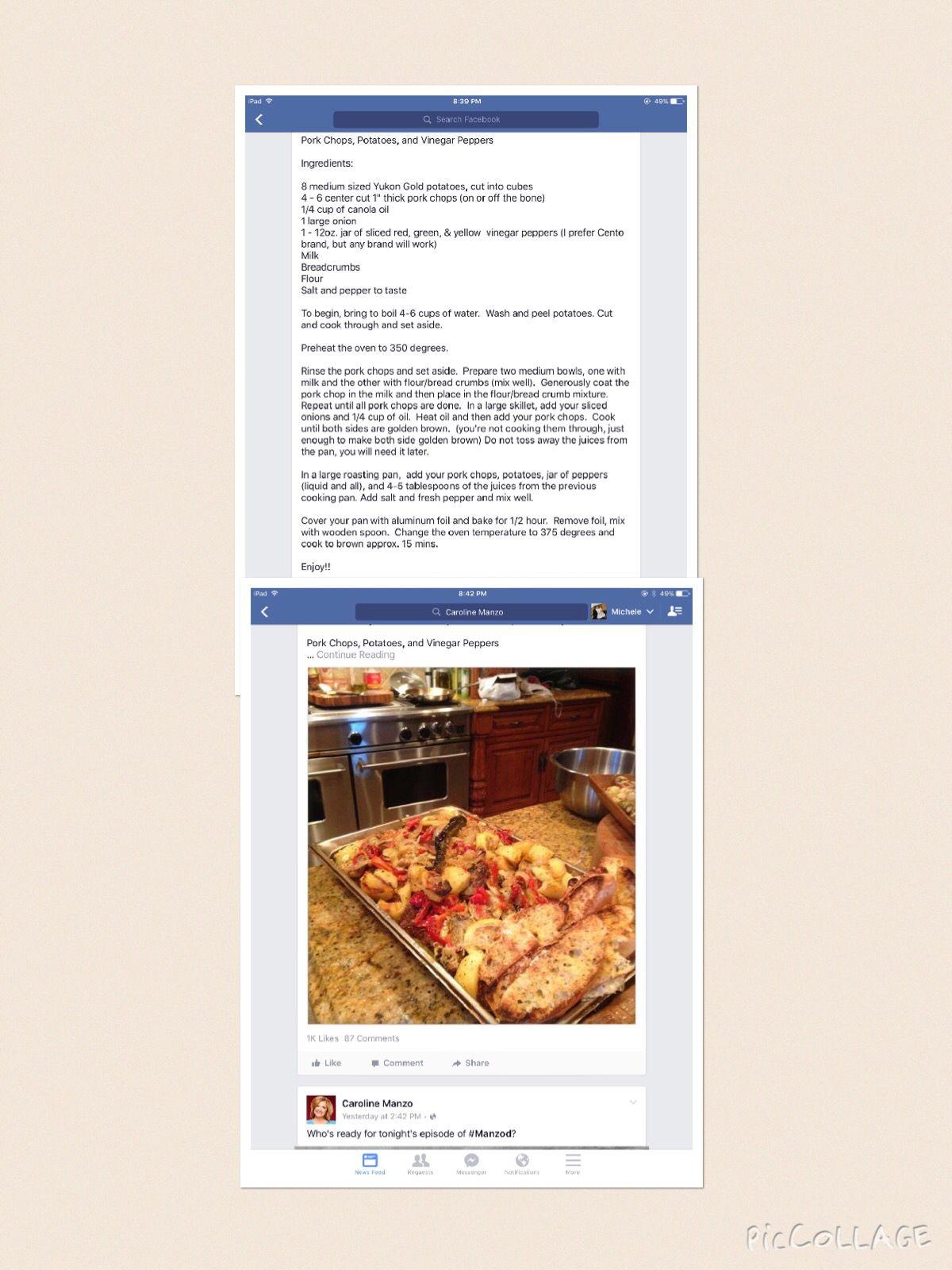 Caroline Manzo's Pork Chops, Potatoes, And Vinegar Peppers