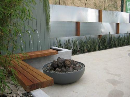 jardin minimalista con fuente - Jardines Minimalistas