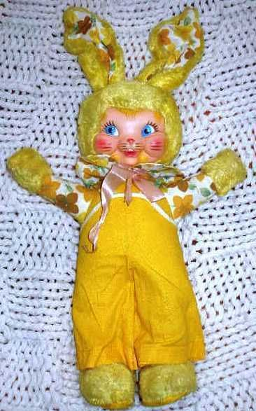 Vintage Tagged Swedlin Gund RUBBER FACE Sunny Yellow Easter Bunny Rabbit Plush