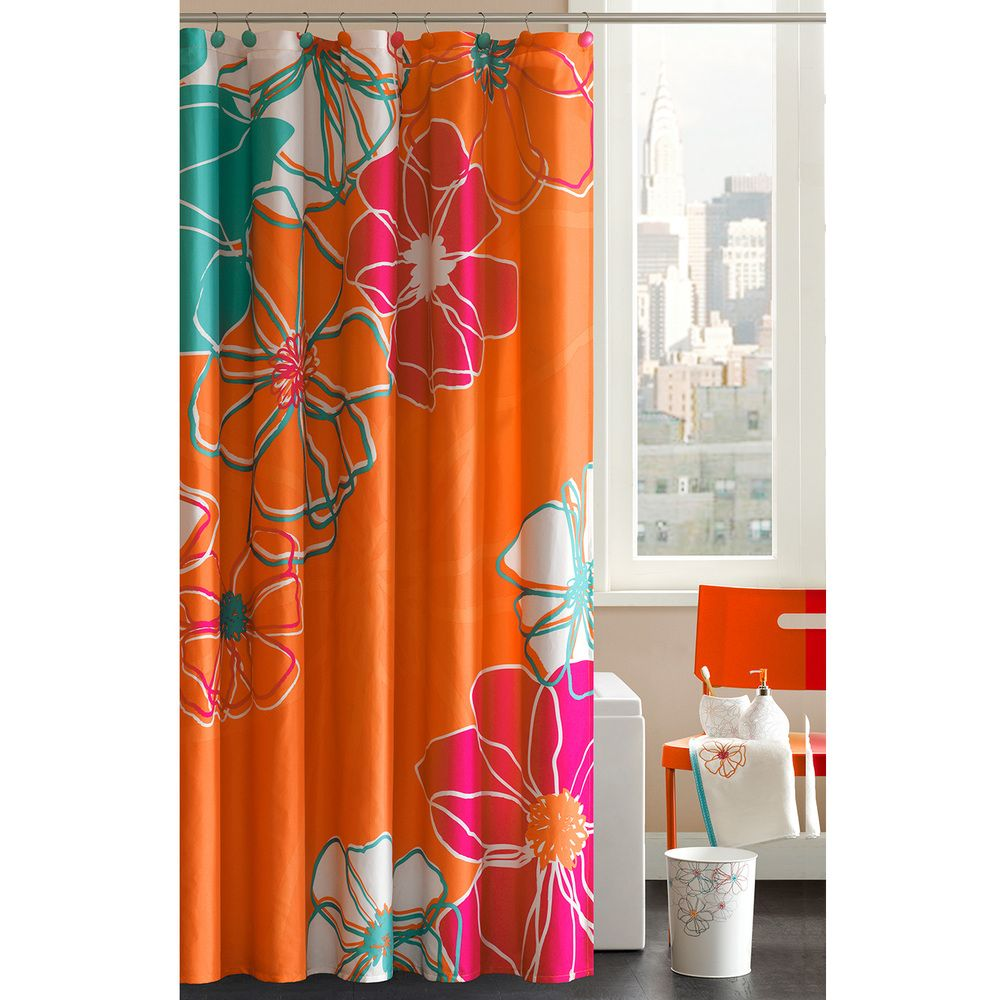 Madison Park Valencia Cotton Shower Curtain With Hooks Shower