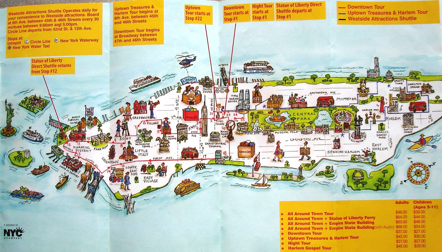 map of new york city attractions printable manhattan citysites tour map see map details from excitingnycom