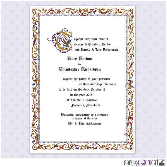 Printing Your Own Wedding Invitations: Printable Illuminated Wedding Invitation, Medieval