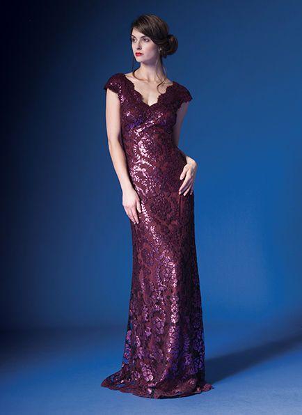 Tadashi Shoji Paillette Embroidered Lace V-Neck Gown Dress AUBRN 8P ...