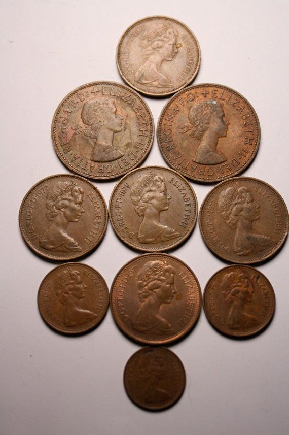 10 Vintage British Coins Queen Elizabeth II 1960s by FoundAround