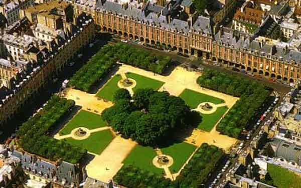 Aerial view of the Place des Vosges (originally the Place