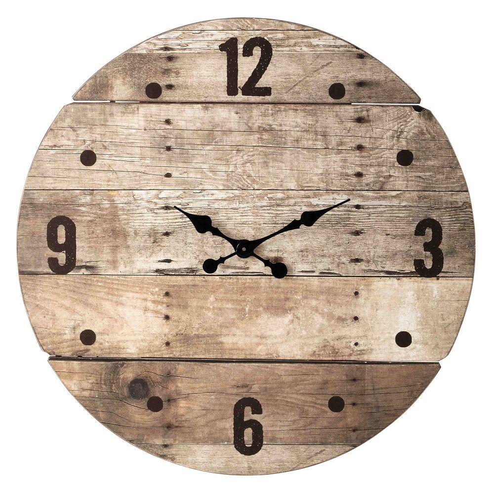 Horloge en bois d 82 cm c vennes buanderie industrielle in 2019 for Grande pendule en bois