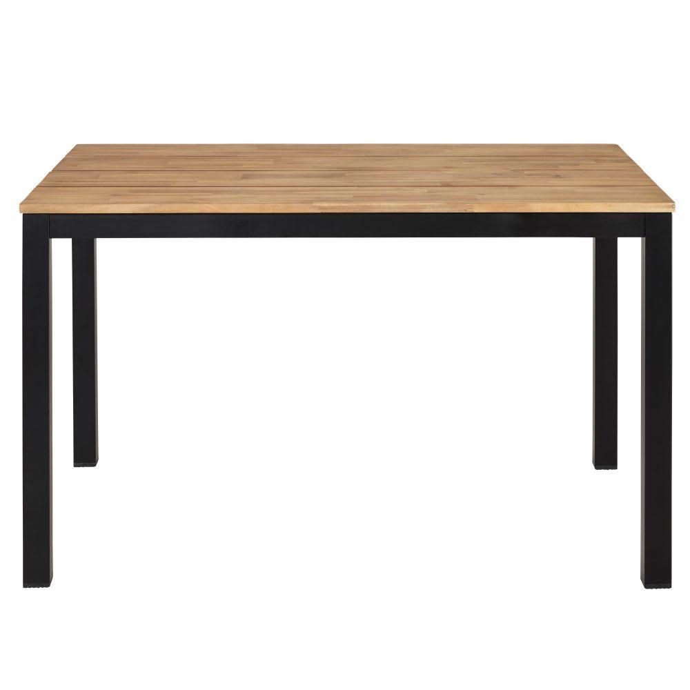 Gartentisch Aus Massivem Akazienholz Und Schwarzem Metall Fur 4 6