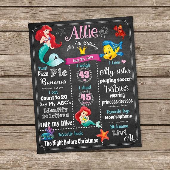 Birthday Sign Birthday Board First birthday mermaid chalkboard sign HAND-PAINTED Birthday Chalkboard Sign
