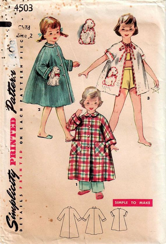1950s Simplicity 4503 UNCUT Vintage Sewing Pattern Toddler | Sew ...