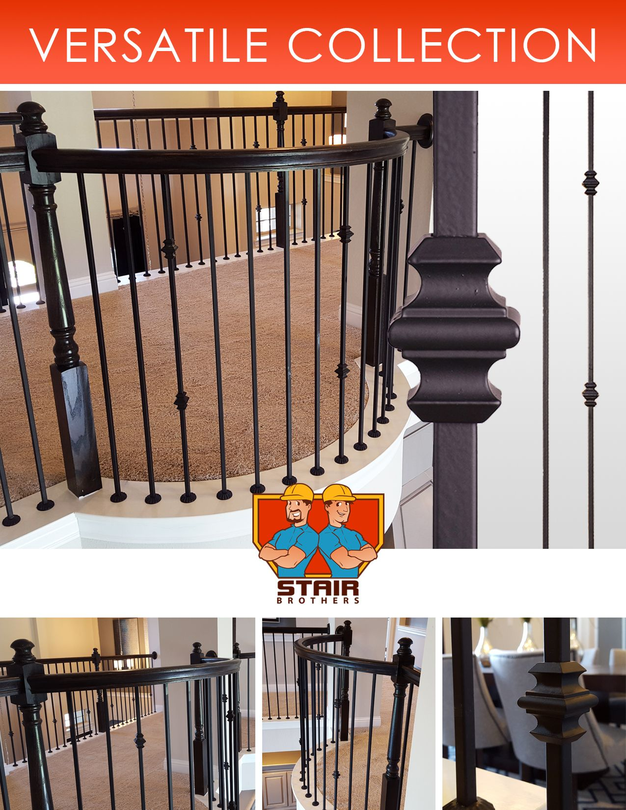 Best Details About Satin Black Modern Aalto Iron Balusters 400 x 300