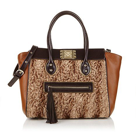 Sharif Scuplted Faux Fur And Leather Satchel Now On Hsn