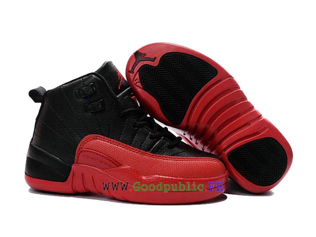 wholesale dealer ae7ce d8b57 Air Jordan 12 retro (ps) Exercice Chaussures Pas cher Pour Enfant Noir rouge