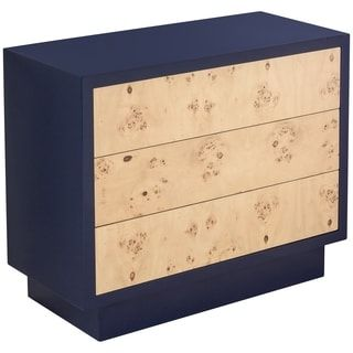 Safavieh Couture High Line Collection Harding Navy Lacquer 3 Drawers  Storage Chest (SFV3509A), Blue, Size 3 Drawer