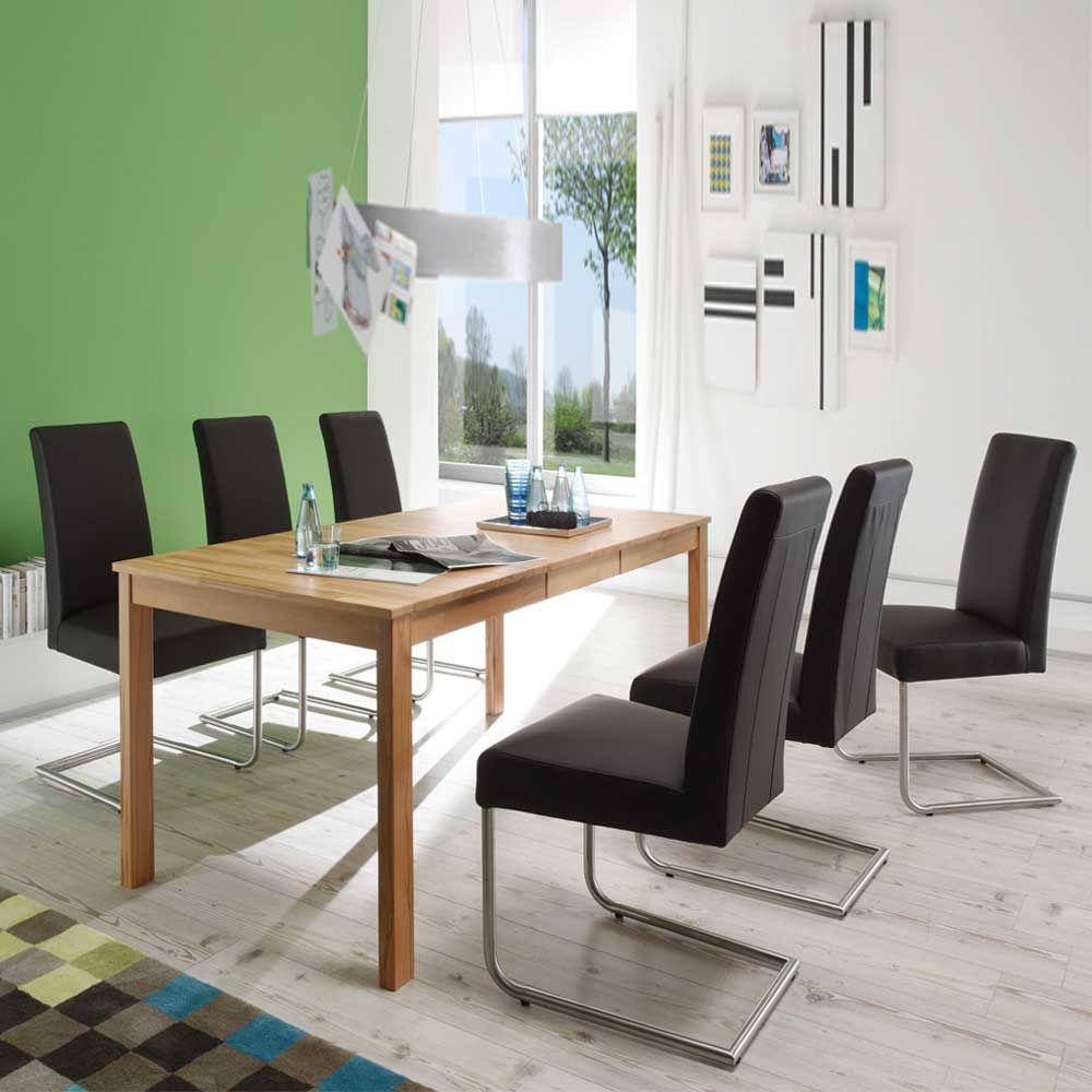 Esszimmer Tischgruppe Mit Kernbuche Massivholztisch 6 Freischwinger