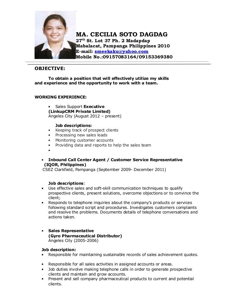 Image Result For Objectives In Resume For Call Center No