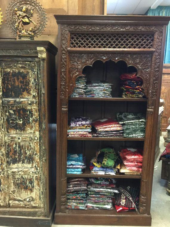 Antique Indian Arch Book Case Bookshelf Arched Frame Teak Patina