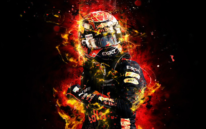 Download Wallpapers 4k Max Verstappen Abstract Art Formula 1 F1 Red Bull Racing 2018 Aston Martin Red Bull Racing Verstappen Neon Lights Formula One R Red Bull Racing Max Verstappen Formula 1